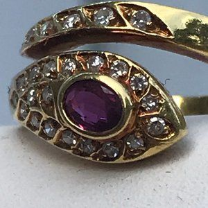 18K Gold Diamond Ruby Bypass Ring Vintage